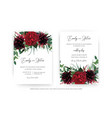 stylish burgundy red wedding invite cards set vector image vector image