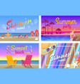 summer beach party with good mood posters set vector image vector image