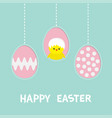 three painting egg happy easter text hanging vector image vector image