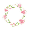 watercolor pink blooming magnolia flower vector image vector image