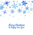 watercolor snowflakes happy new year greeting card vector image