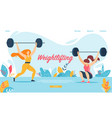 weightlifting sport women squatting with weight vector image