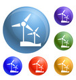 wind turbine icons set vector image
