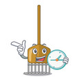 with clock cartoon rake leaves with wooden stick vector image vector image