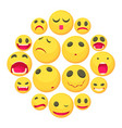yellow smiles fun icons set cartoon style vector image vector image