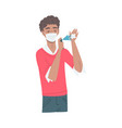 young man in protective face mask spraying vector image