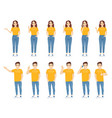 young people in casual outfit set vector image vector image
