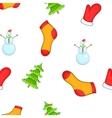Christmas symbols pattern cartoon style vector image