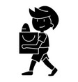 boy with shopping bag icon vector image