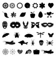 a set of black icons with different images vector image vector image