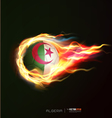Algeria flag with flying soccer ball on fire vector image vector image