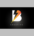 b letter logo design with lighting thunder bolt vector image