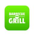 barbecue grill icon green vector image