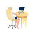 blonde man sitting on rolling chair browsing in vector image