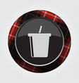 button red black tartan - cold drink with straw vector image vector image
