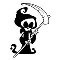 cartoon grim reaper with scythe isolated vector image vector image