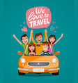 cheerful young people or happy friends traveling vector image vector image