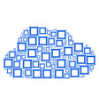 cloud mosaic of postage stamp icons vector image