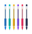 colored gel pens with rubber grip set vector image vector image