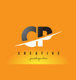 cp c p letter modern logo design with yellow vector image vector image