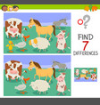 differences game with funny farm animals vector image vector image