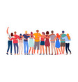 diverse multiethnic people group together backview vector image