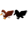 eagle and its silhouette vector image vector image