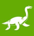 elasmosaurine dinosaur icon green vector image vector image