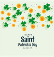 elegant st patricks design with coin and clover vector image