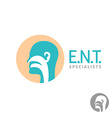 ENT logo template Head silhouette sign for ear vector image vector image