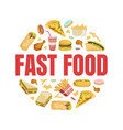 fast food banner template with tasty unhealthy vector image