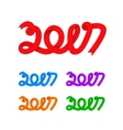Flat riibon 2017 nember for New Year and vector image vector image