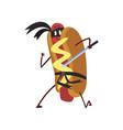 funny hotdog ninja with sword humanized fast food vector image