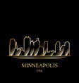 gold silhouette of minneapolis on black background vector image vector image