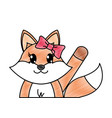 grated adorable female fox animal with hand up vector image vector image