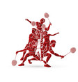 group badminton player action cartoon graphic vector image vector image