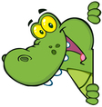happy alligator looking around a sign vector image vector image