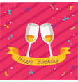 happy birthday ribbon wine glass pink background v vector image vector image