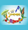hello summer banner design vector image