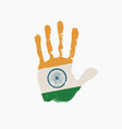 human handprint in colors flag india vector image