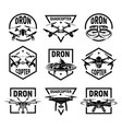 isolated monochrome quadcopter icons in frames rc vector image