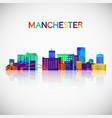 manchester new hampshire skyline silhouette vector image vector image
