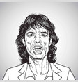 mick jagger portrait hand drawn drawing vector image