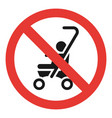 no baby carriage icon simple style vector image vector image