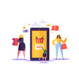 online shopping concept with characters mobile vector image vector image