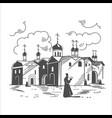 orthodox monastery russia vector image vector image