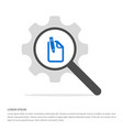 pencil and note icon search glass with gear vector image