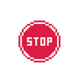 pixel art 8-bit simple red stop traffic sign icon vector image vector image