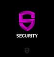 purple letter s like shield antivirus protection vector image vector image