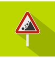 Rockfall traffic sign icon flat style vector image vector image